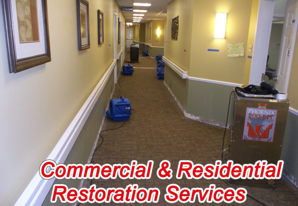 commercial water damage restoration in Plymouth, Michigan